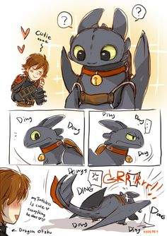 From kadeart ...  How to train your dragon, toothless, hiccup, night fury, dragon, viking
