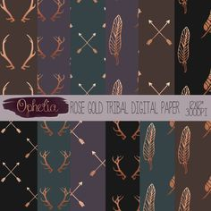 Rose Gold Tribal Digital paper Pack-Commercial use by Opheliafpg