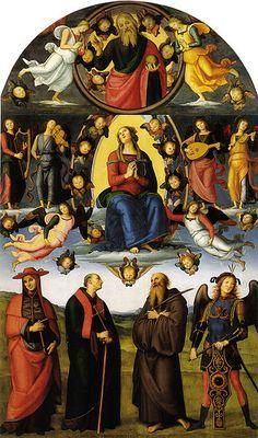 Pietro Perugino, Pala di Vallombrosa  (Assunzione della Vergine fra Angeli e Dio Padre, con quattro Santi), 1500, olio su tavola 415×246 cm, Galleria dell'Accademia, Firenze