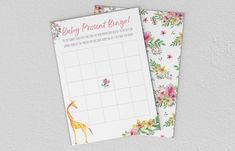 Baby Shower Games - Giraffe - Baby Present Bingo Giraffe Baby, Baby Presents, Baby Shower Games, Bingo, A5, Etsy Store, Printing, Invitations, Digital