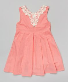 Loving this Watermelon Lace Pleated A-Line Dress - Toddler & Girls on #zulily! #zulilyfinds