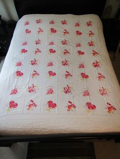 Vintage Tablecloth Off White with Fruit pattern 63 1/2 x
