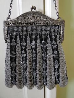 Beadknit purse with filigree frame and unusual beading pattern