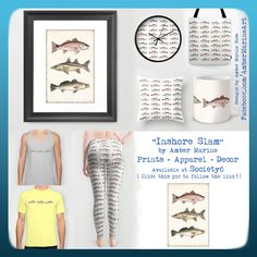 Inshore Slam & Inshore Slam Pattern Redfish Snook & Trout Watercolor Art by Amber Marine! ♥☺ ( Link to patterned items: https://society6.com/product/pattern-inshore-slam_pillow?curator=aroseart )