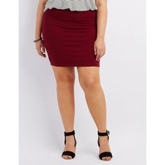 Charlotte Russe Bodycon Mini Skirt ($14) ❤ liked on Polyvore featuring plus size women's fashion, plus size clothing, plus size skirts, plus size mini skirts, burgundy, charlotte russe, plus size short skirts, burgundy mini skirt and body con skirt