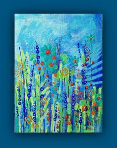 Blue Meadow original abstract painting by BenDyerOriginalArt