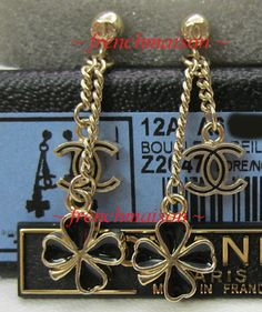 AUTHENTIC CHANEL MINI Black CC + 4-Leaf Clover Lucky Charm Gold Dangle Earrings