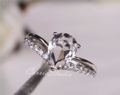 Natural White Topaz Ring Topaz Engagement Ring/ Wedding Ring Sterling Silver Anniversary Birthday Gift by CarrieStudio on Etsy https://www.etsy.com/listing/256797310/natural-white-topaz-ring-topaz