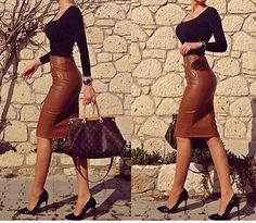 Preself Women's Fashion Sexy PU Leather Mini Bandage Pencil Skirt with High-Waist and Zipper Plus Size We would so love to wear these! Classy Outfits, Chic Outfits, Fashion Outfits, Womens Fashion, Fashion Trends, Fashion Inspiration, Fashion Styles, Fall Outfits, Work Fashion