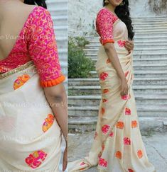 New Designer Saree For this saree you can wear on function, party and puja also . - New Designer Saree For this saree you can wear on function, party and puja also in wedding, Saree L - Saree Blouse Neck Designs, Simple Blouse Designs, Stylish Blouse Design, Pattern Blouses For Sarees, Latest Blouse Designs, Latest Blouse Patterns, Brocade Blouses, Shirts & Tops, Sari Bluse