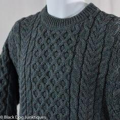John Molloy Irish Wool Sweater 42 M Gray Donegal Ireland Knitwear New Fisherman #JohnMolloy #Crewneck