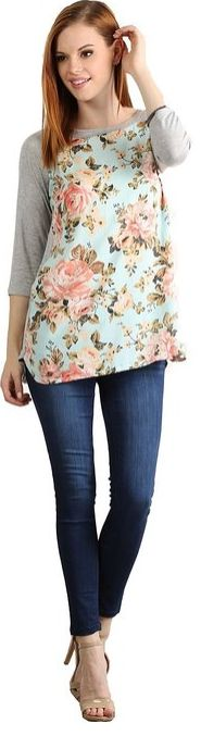 I love this women's top. Florals are great. womens-vintage-floral-three-quarter-sleeve-tunic-top