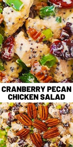 Cranberry Pecan Chicken Salad with Poppy Seed Dressing is an easy recipe that a whole family would love! It's a great side dish or light dinner. # Easy Recipes lunch Cranberry Pecan Chicken Salad with Poppy Seed Dressing Pecan Chicken Salads, Chicken Salad Recipes, Poppy Seed Chicken Salad, Clean Eating, Healthy Eating, Cooking Cranberries, Savory Salads, Cooking Recipes, Healthy Recipes