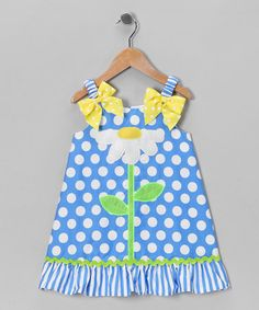 Take a look at this Blue & White Polka Dot Daisy Dress - Toddler & Girls by Youngland on #zulily today!