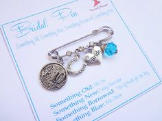 Bridal Charm Pin Something Old New Borrowed And Blue Lucky Bouquet