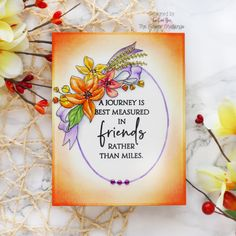 The Flower Challenge #51 – Add Embellishments – Reminder – rainbow in november Gold Watercolor, Floral Drawing, White Gel Pen, Oval Frame, Penny Black, Gel Pens, Hello Everyone, I Card, Embellishments