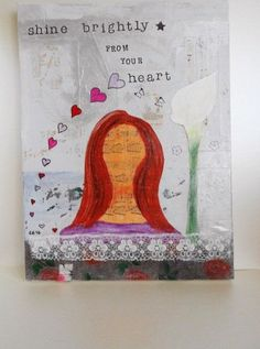 Original art for sale, Affordable original art, Original art work, Girl Art Work, Woman Original Painting, Mixed Media, Shine Brightly Heart