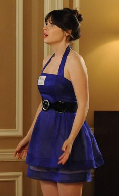 Jess's blue halter dress at the wedding on New Girl.  Outfit details: http://wornontv.net/11336/