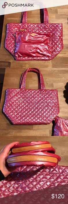 MZ Wallace Med Metro Tote - Price firm EUC, only carried a few times. I saw a new color that I want! So selling this one. I LOVE these bags. This is the pink red color from summer. Dust bag included MZ Wallace Bags Totes