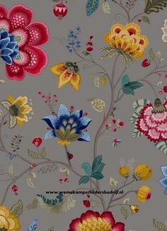 Pip 341038 Floral Fantasy grijs eijffinger pip studio behang vliesbehang www.wemekampschildersbedrijf.nl
