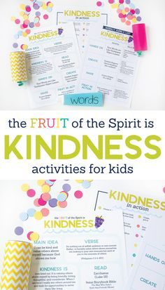 The Fruit of the Spirit is KINDNESS Kids Activities by The Littles & Me - Looking for ways to point your kids to Jesus? The Fruit of the Spirit is KINDNESS Kids Activities p - Kindness Activities, Primary Activities, Bible Activities, Activities For Kids, Teaching Kindness, Indoor Activities, Educational Activities, Bible Study For Kids, Bible Lessons For Kids