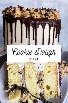 Cookie Dough Cake, Edible Cookie Dough, Chocolate Chip Cookie Dough, Chocolate Drip, Mini Chocolate Chips, Moist Yellow Cakes, Edible Cookies, Hungry Hungry, Cake Flour