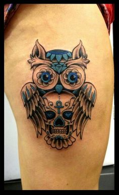 cute owl tattoo designs for women - Yahoo Image Search Results Skull Thigh Tattoos, Sugar Skull Tattoos, Arm Tattoo, Body Art Tattoos, Sleeve Tattoos, Sugar Skull Owl, Bird Skull, Ankle Tattoo, Wolf Tattoos
