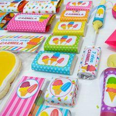 golosinas personalizadas para fiesta de helados Birthday Celebration, 2nd Birthday, Birthday Parties, Ice Cream Party, Digital Scrapbook Paper, Ideas Para Fiestas, Polly Pocket, Candy Party, Little Boxes