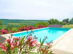 Panoramic pool and breathtaking view at Clos de Fougeres Guesthouse in Burgundy