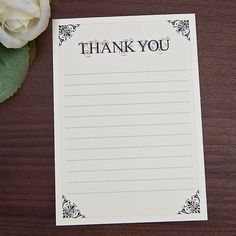 Sarah Alexis Stationery: Vintage Script Thank You Note Card in Black and Cream