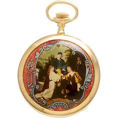 Elgin Pocket Watch Renaissance Marriage Painting Case
