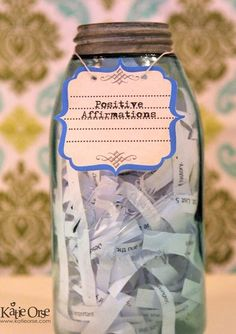 100 Positive Affirmations Jar -- LOVE this idea! It's very similar to the happiness jar, or a gratitude journal (except in jar form). If you need a pick-me-up, pick a note from the jar and affirm something positive today.