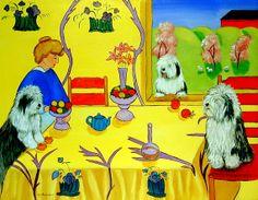 Old English Sheepdog Matisse inspired print