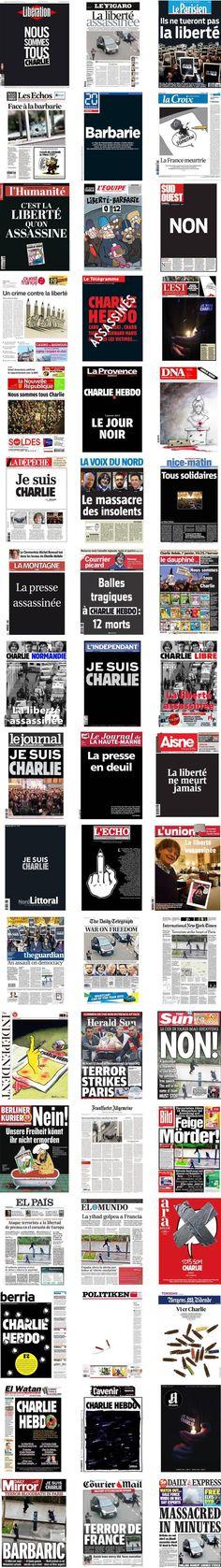 """France. Attentat à """" Charlie Hebdo """" : 51 unes de journaux du monde entier. Jeudi 8 janvier 2015."""