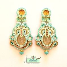 Soutache Earrings Bridal Swarovski Crystal by DILETTANTEsoutache, $180.00