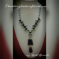 Kumihimo braid weave with raw edge black vein agate pendant with agate tear drop - dramatic effect to finish off this stylish wave necklace.  By Beth Bianchi #beadingbabesofdurham #bethbianchi #beadrock #beadclasses #takeaclass #Kumihimo #instanecklace #johnbead