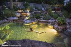 Pretty Backyard Lighting Ideas for Your Pond Waterfall or Fountain # d . - Pretty backyard lighting ideas for your pond waterfall or fountain # design - Swimming Pool Pond, Natural Swimming Ponds, Natural Pond, Aquascaping, Backyard Water Feature, Ponds Backyard, Koi Ponds, Backyard Waterfalls, Garden Ponds