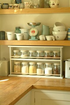 Pickle storage shelf with Cream Jars