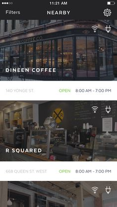 Workplace Main Screen: List of coffee shops and other public spaces with outlets and wifi | Mobile User Interface Design