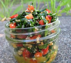 Kale Basil Salad. Making this for sure! No oil (fat) or salt. . . . 4 cups finely chopped dinosaur kale; 1 lemon, juiced; ½ orange, juiced; 2 tablespoons apple cider vinegar;   ½ cup finely chopped basil; ½ cup diced red bell pepper; 4 teaspoons hulled sesame seeds; 1 cup chopped walnuts