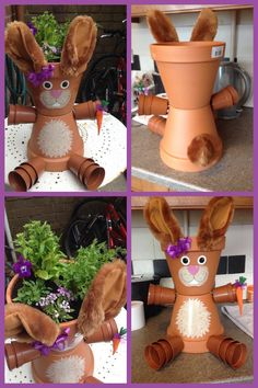 Adele's bunny flower pot xx - All About Gardens Flower Pot Art, Clay Flower Pots, Flower Pot Crafts, Clay Pot Projects, Clay Pot Crafts, Diy Clay, Flower Pot People, Clay Pot People, Painted Clay Pots