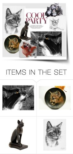 """Party animal"" by canisartstudio ❤ liked on Polyvore featuring art, animal, cat and catstyle"