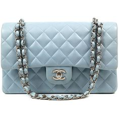 Authentic Chanel Powder Blue Leather Double Flap Classic Bag found on Polyvore