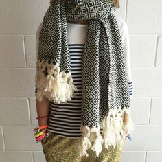 Image of Herringbone luxe oversized wool scarf
