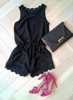 Love this romper and pink heels.