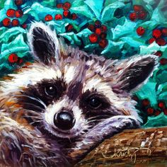 """Christmas Coon 6"""" x 6"""" Original Oil Painting by Kristy Tracy"""