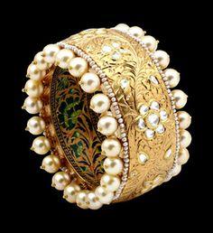 Gold and Pearl Bangle, by Sunita Shekhawat Jewellery Designer, Jaipur, Rajasthan, India