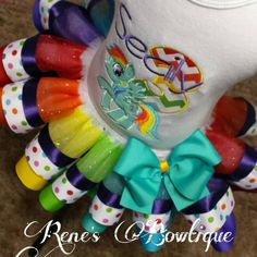 Arco iris Pony cinta tutú conjunto por RenesBowtique en Etsy