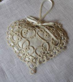 Beautiful Little Tatting Project - heart sachet with this hand made lace Soft Heart, I Love Heart, Lace Heart, Needle Tatting, Tatting Lace, Filet Crochet, Tatting Tutorial, Art Du Fil, Tatting Jewelry
