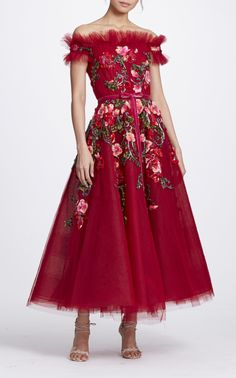 Off the Shoulder Tea Length Gown by MARCHESA for Preorder on Moda Operandi